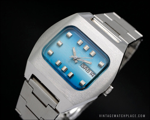 Thermidor De Luxe rare tv shape automatic vintage watch, blue dial, ETA 2789 25 jewels, all stainless steel