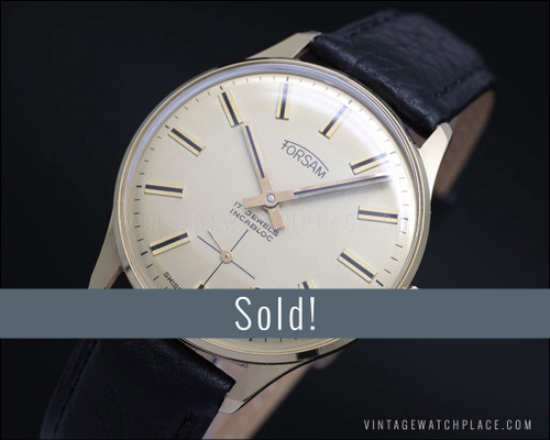 New Old Stock Forsam mechanical vintage watch, gold plated, army movement
