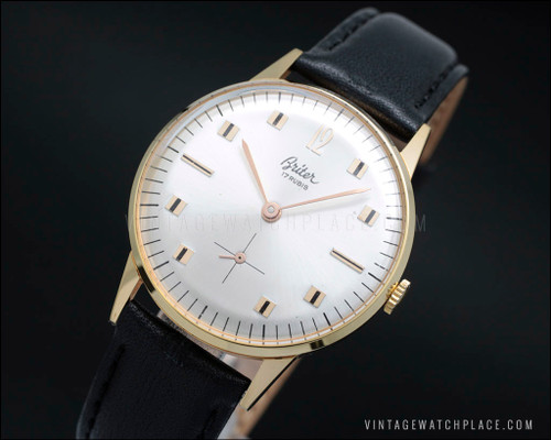 Mechanical vintage watch Briter, gold plated, Swiss made movement Lorsa 238, 17 jewels, silver dial, black strap