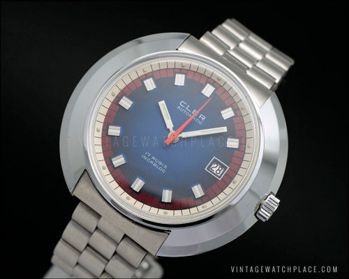 Big and rare shape Cler wristwatch automatic vintage watch, blue and red dial duo-tone, FE 3611 movement, stainless steel