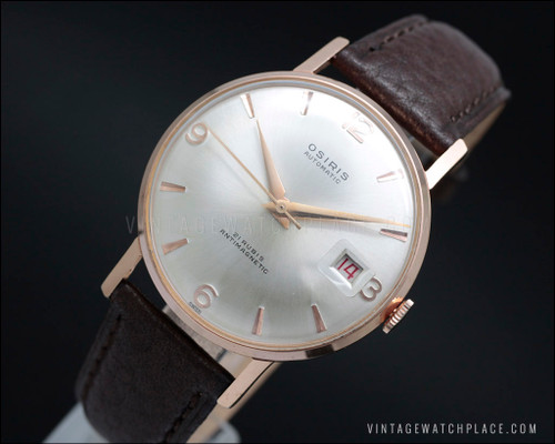 Swiss made new old stock Osiris automatic vintage watch from the late 50's, pink gold plated, Brac 118 movement, NOS
