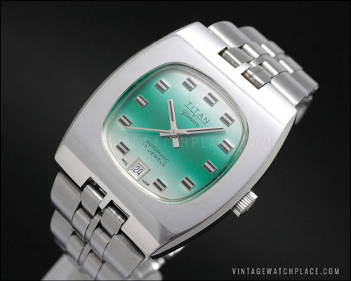 Swiss made Titan Genève automatic vintage watch, New Old Stock NOS, ETA 2783 movement, green dial, all stainless steel