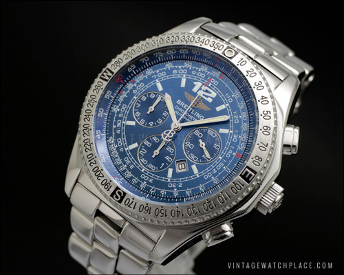 Breitling B2 Chronometre Automatic Chronograph A42362 blue dial vintage watch