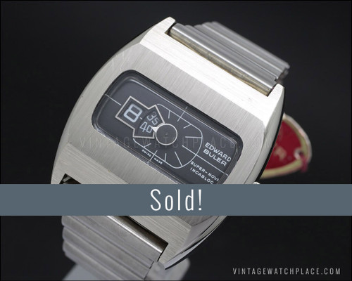 New Old Stock Buler Super-Nova Jump hour vintage watch, 100% original!, the last one in black!