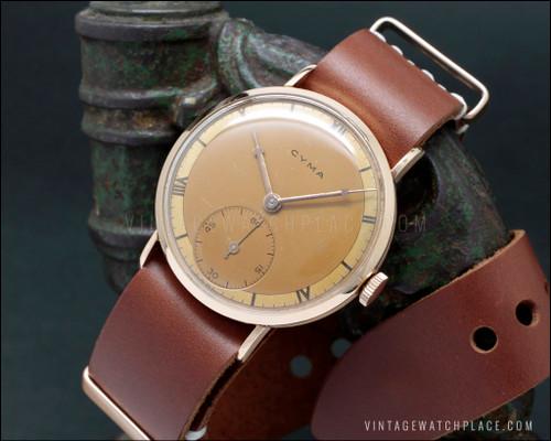 Cyma vintage mechanical watch pink gold Cyma 576 movement