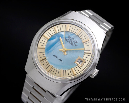 New Old Stock Vanroy mechanical vintage watch mother of pearl dial in blue color