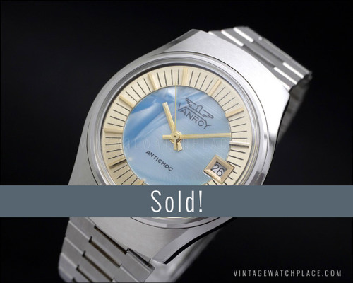 NOS Vanroy mechanical mother of pearl blue dial