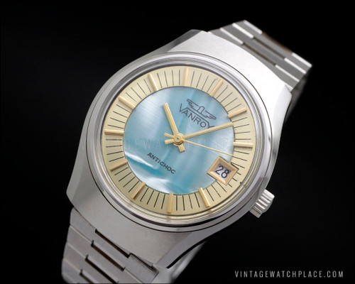 New Old Stock Vanroy mechanical vintage watch golden indexes N.O.S. FE 140-1