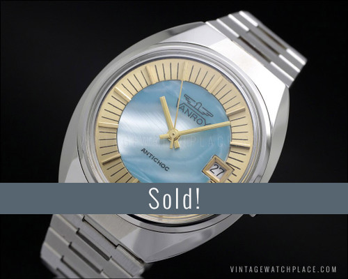 NOS Vanroy mechanical, mother of pearl blue dial, wider case