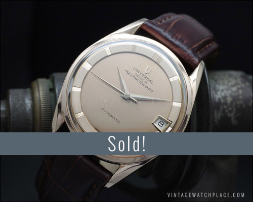 Universal Geneve Polerouter 'De Luxe' 18K Pink Gold dial and case, microrotor
