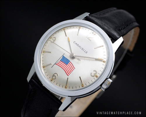 Caravelle By Bulova mechanical vintage watch USA America lovers, American Flag, Bulova 11DP (Citizen 0241) movement