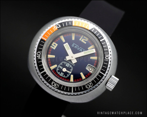 New Old Stock Savar Diver's mechanical vintage watch, waterproof tested, FHF 362 movement, NOS