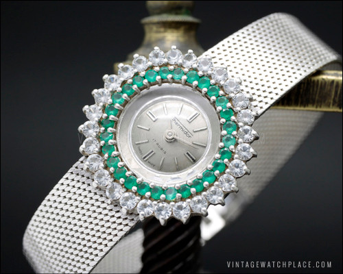 New Old Stock Thermidor vintage mechanical Cocktail jewelry watch, 925 Silver with 28 natural chrysoprase & 28 top quality crystal setting, very elegant watch for ladies, Art Deco design