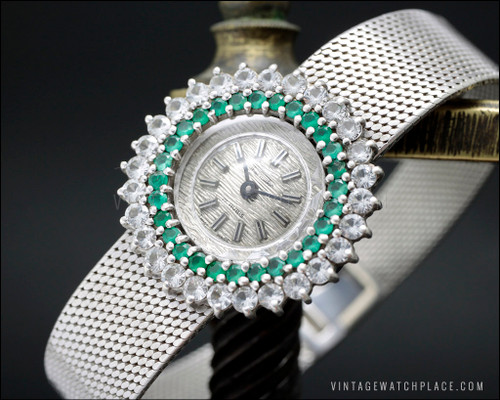 New Old Stock Thermidor vintage mechanical Cocktail jewelry watch, 925 Silver with 28 natural chrysoprase & 28 top quality crystal setting, very dainty watch for ladies Art Decó