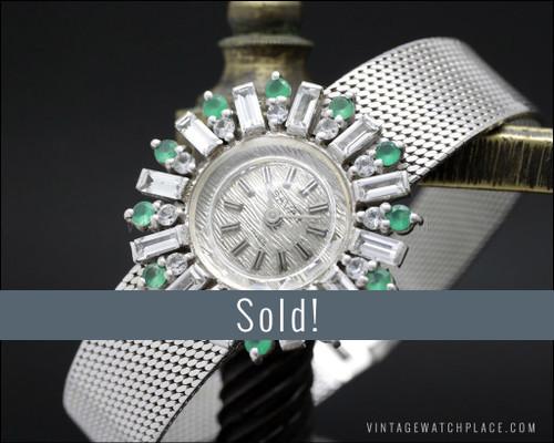 N.O.S. Savar mechanical Cocktail jewelry watch 925 Silver Art Decó Design