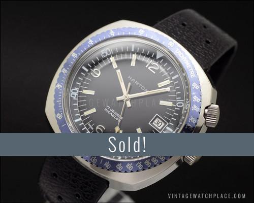 very rare Harton Diver's mechanical vintage watch, double crown