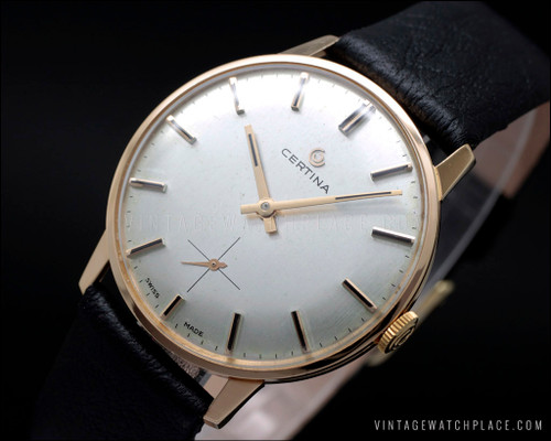 Near NOS Swiss made Certina Classic 18 Karat pink gold, Certina 28-10 movement, Ca. 1965