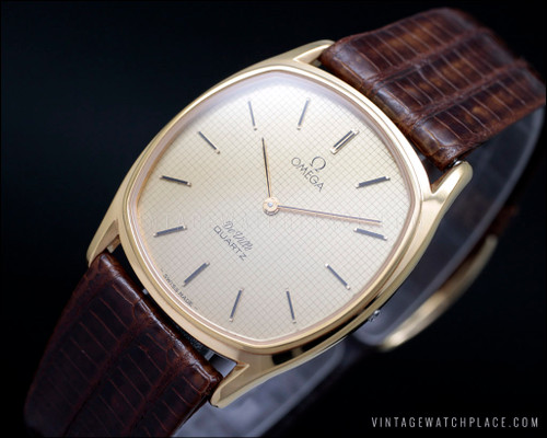 New Old Stock Omega De Ville quartz vintage watch NOS Omega 1365 movement, leather original strap, gold plated