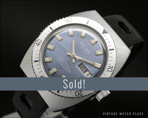 New Old Stock Helsa Diver mechanical vintage, blue dial