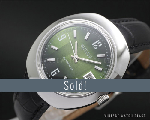 New Old Stock Thermidor Automatic vintage watch, Fancy shape green dial