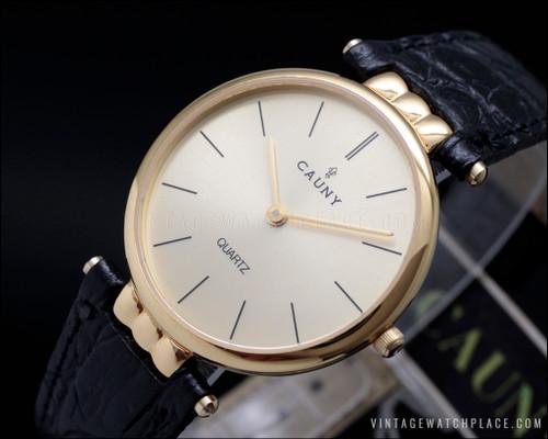 New Old Stock Cauny quartz vintage watch, fancy lugs