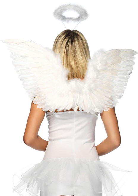 2 PC. Angel Accessory Kit, includes wings and marabou halo. Color:  White One size