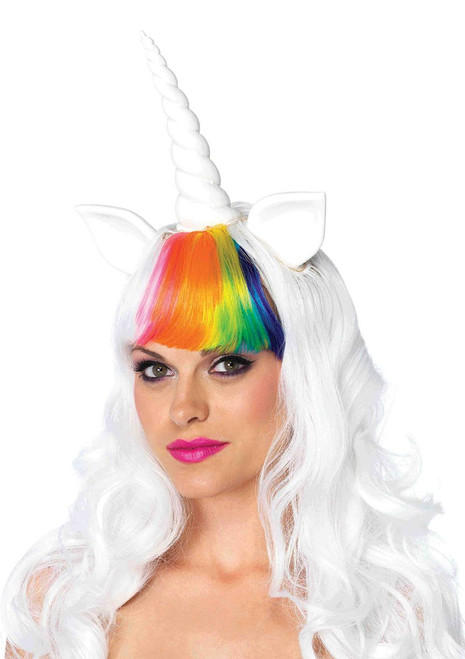2 PC. Unicorn kit, includes long wavy unicorn wig with adjustable elastic strap and matching rainbow tail. Color: Multi One size