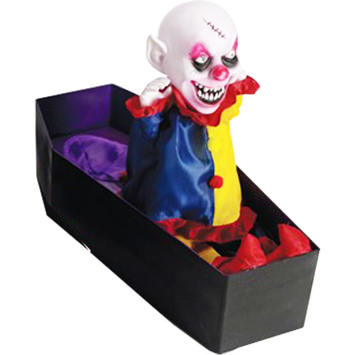 SCARY COFFIN CLOWN W LITE AND SOUND