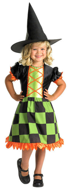 CHECKERED CUTIE GIRLS WITCH COSTUME SIZE SMALL 4-6