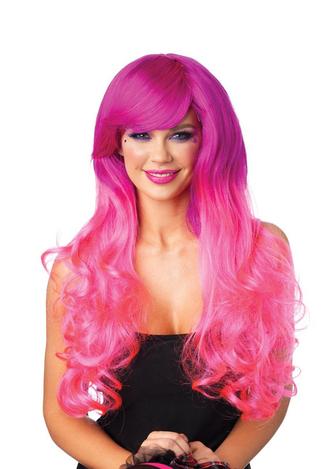 Cambria two-tone long wavy wig. Color: Fuchsia/Pink One size