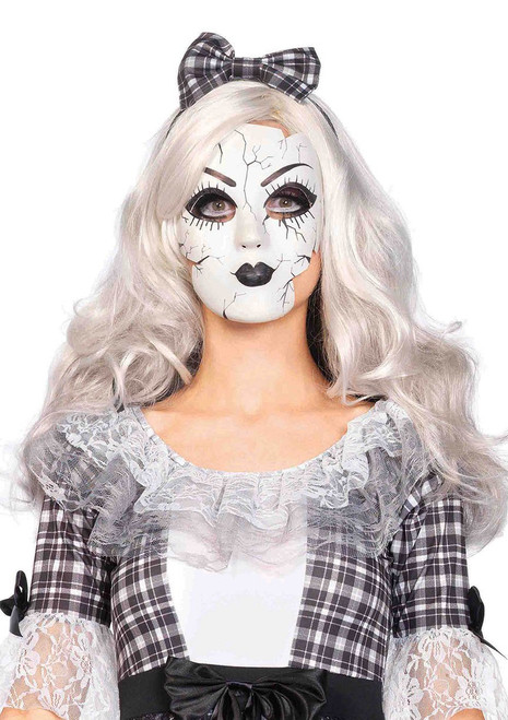 Porcelain looking doll mask  O/S WHITE