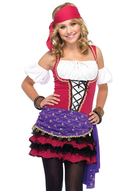 Looking into the future, you're bound to see how great you look in Leg Avenue's 3 PC Crystal Ball Gypsy costume for girls. This esmeralda inspired juniors costume features a gypsy peasant dress with lace up bodice and cute ruffle skirt that will give you a perfectly mystical look. Costume...