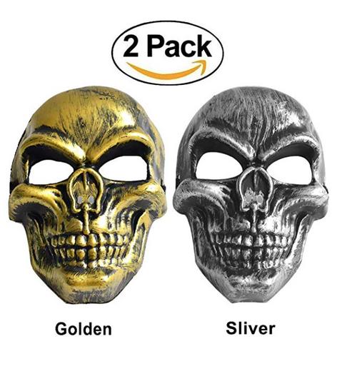 2-Pk Skull Masks Gold and Silver
