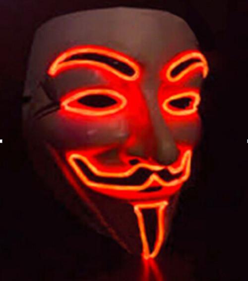 V for Vendetta Light up EL wire Mask Halloween Led Rave Mask Orange