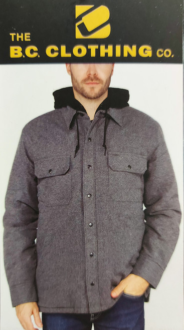 14 Units of The BC Clothing Co Flannel Hooded Jacket - Small - Grey - MSRP 378$ - Brand New (Lot # CP565231)