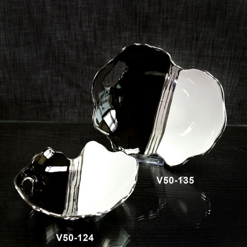 954 Units of Decorative Plate with Handles - Black/ White / Silver (2 Sizes) - MSRP 15363$ - Brand New