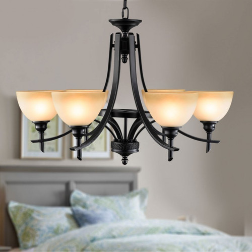 1 Unit of 6-Light Black Wrought Iron Chandelier with Glass Shades (DK-8034-6) - MSRP 349$ - Brand New