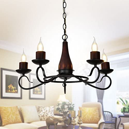 1 Unit of 5-Light Iron/Glass Vintage Chandelier (E-HKP31251-5) - MSRP 176$ - Brand New
