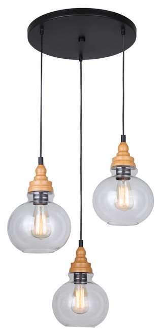 "1 Units of Canarm 3 Light Cord Pendant - Clear Glass (21 .25"" x 14 .25"" x 60"") - MSRP 200$ - Brand New (Lot # CP548702)"