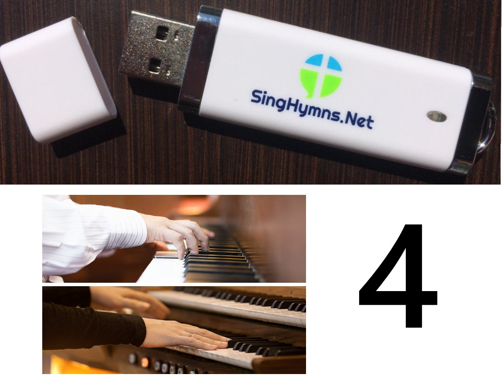 25 Hymns Volume 4 - Piano and Organ Together Accompaniment MP3s on USB Drive - Choose High or Low
