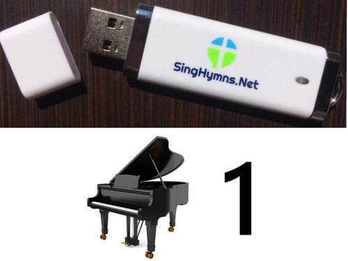 25 Hymns Volume 1 PIANO Accompaniment MP3s Loaded on USB Thumb Drive