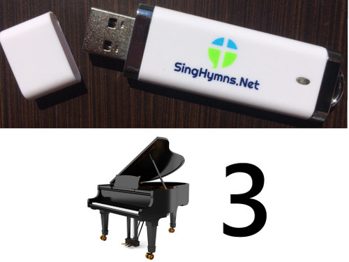 25 Hymns Volume 3 Piano MP3s Loaded on USB Thumb Drive