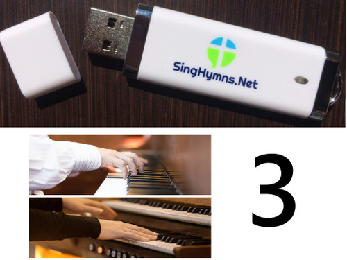 25 Hymns Volume 3 PIANO & ORGAN Duo Accompaniment Loaded on USB Thumb Drive