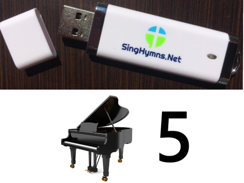 25 Hymns Volume 5 PIANO Accompaniment MP3s Loaded on USB Thumb Drive