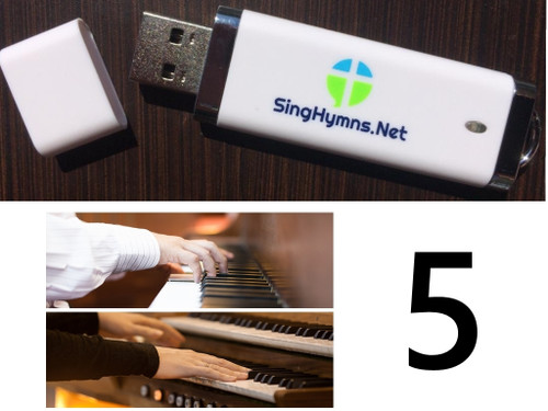 25 Hymns Volume 5 PIANO & ORGAN Duo Accompaniment Loaded on USB Thumb Drive