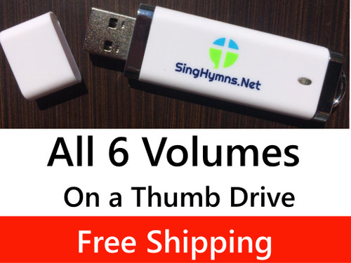 150 Hymns All 6 Volumes PIANO Accompaniment Loaded on USB Thumb Drive - Save $5