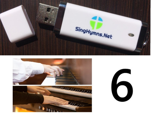 25 Hymns Volume 6 PIANO & ORGAN Duo Accompaniment Loaded on USB Thumb Drive