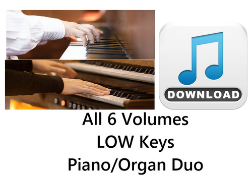 150 Hymns All 6 Volumes PIANO &  ORGAN Duo Accompaniment LOW Keys MP3 Download (6 Zip Files) Save $6