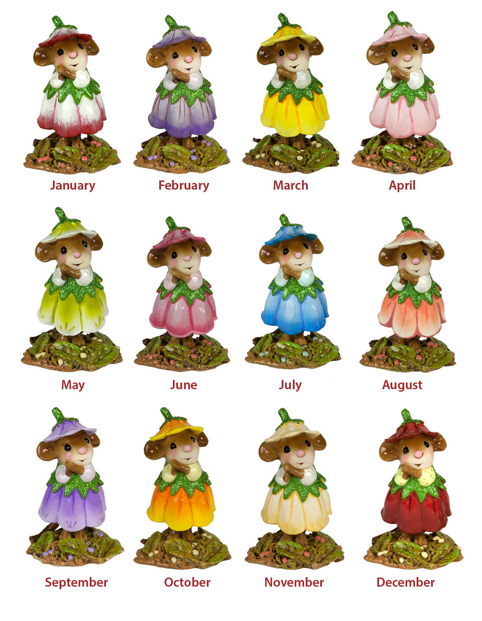 Wee Forest Folk February Flower Mouse Of The Month M-640b