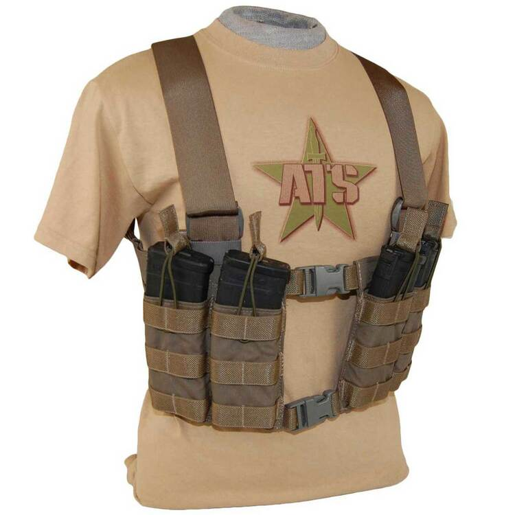 ATS Tactical Gear 5.56 Split Front Chest Harness in Coyote Brown
